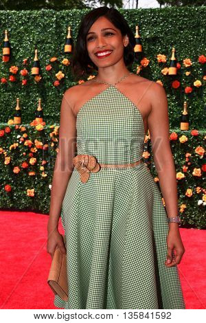 JERSEY CITY, NJ - MAY 30: Actress Freida Pinto attends the 8th Annual Veuve Clicquot Polo Classic at Liberty State Park on May 30, 2015 in Jersey  City, New Jersey.