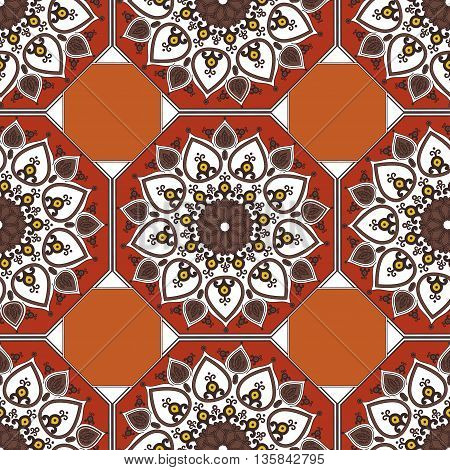 Seamless geometric pattern in ethnic oriental islamic style. Abstract red and ochre background. Vector illustration in boho vintage style for design of fabric invitation card textile wallpaper