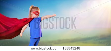 Superhero Little Girl with red mask and mantle