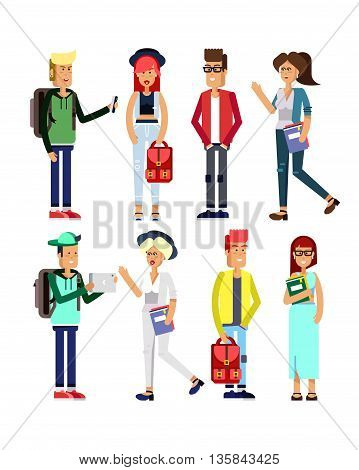 Flat illustratuion set of students with gadgets and books. Fashion students. Young and fashionable girl and boy