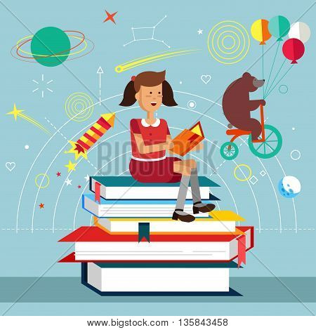 Young girl holds and read book sitting on stack of big book. Imagination concept with opened book