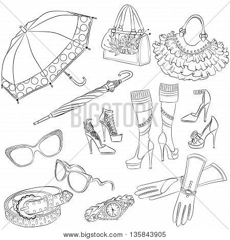 A set of fashion accessories. Various women's accessories. Outline Vector illustration