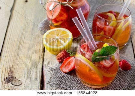 Tradition Summer Mojito Drink With Lemon And Mint With Copy Space In A Rustic Style.