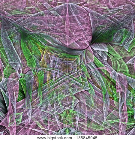 Colorful glowing pattern green and purple colliding and twisting shapes, abstract art for background