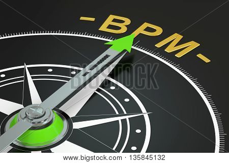 BPM compass concept 3D rendering on black background