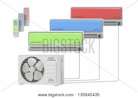 modern air conditioners system with unit and remote control 3D rendering