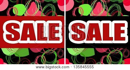 Inscription SALE on a bright abstract background of red and green intersecting elements. Graphic design. Vector illustration
