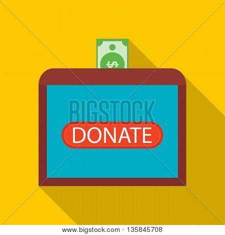 Donate money to sick children icon in flat style with long shadow. Financial assistance to people symbol