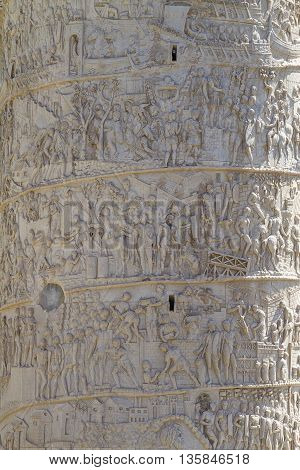 Detail of an Old Monument and Column of Trajan in the Imperial Forums in Rome Italy