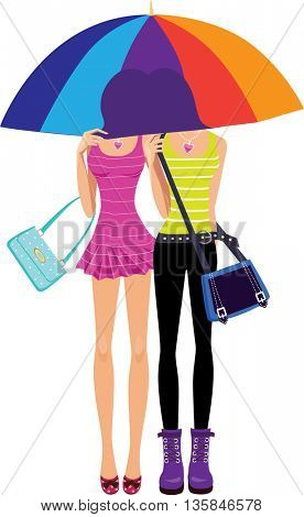 two girls under the umbrella of the rainbow color