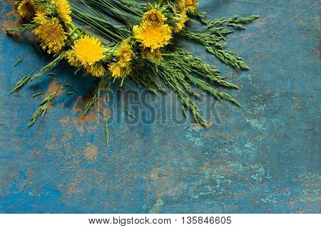 Yellow Dandelions (braided Wreath) On Vintage Blue Background, Place For Your Text.