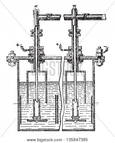 Apparatus for the industrial preparation of fluorine, vintage engraved illustration. Industrial encyclopedia E.-O. Lami - 1875.