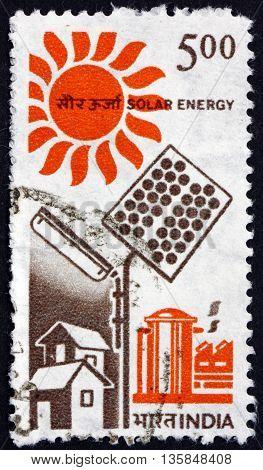 INDIA - CIRCA 1988: a stamp printed in India shows Solar Energy circa 1988