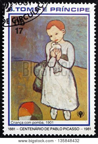 SAO TOME AND PRINCIPE - CIRCA 1981: a stamp printed in Sao Tome and Principe shows Child with Dove Painting by Pablo Picasso circa 1981