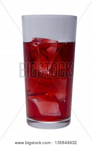 cherry juice with ice on a white background in a glass