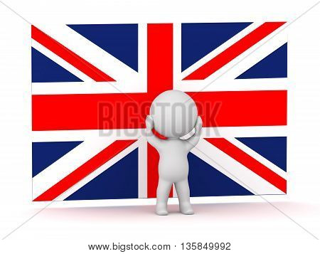 3D character is stressed standing in front of a British Flag Union Jack. Isolated on white background.