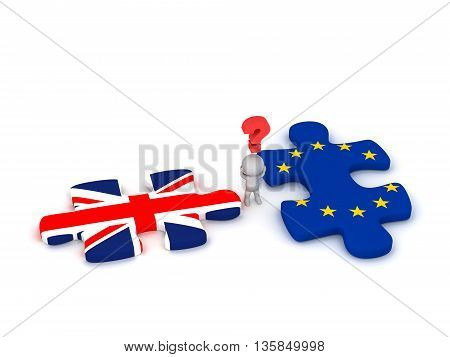 3D character with a question symbol and two puzzle pieces with the British Flag Union Jack and the EU European Union Flag. Isolated on white background.