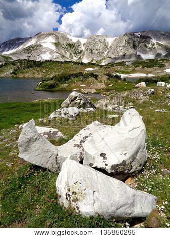 Quartzite boulders and the Snowy Range Mountains