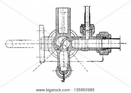 Tap the brake mechanic Fives-Lille, vintage engraved illustration. Industrial encyclopedia E.-O. Lami - 1875.