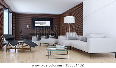 parquet armchair sofa Living room 3d render