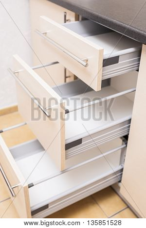 Three Kitchen Shelves Stacks One Above Another in Open Condition. Vertical Image