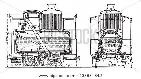 Locomotive homeless, vintage engraved illustration. Industrial encyclopedia E.-O. Lami - 1875.