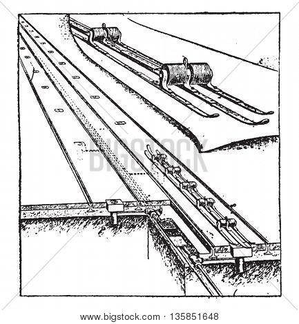 Electrical outlet, vintage engraved illustration. Industrial encyclopedia E.-O. Lami - 1875.