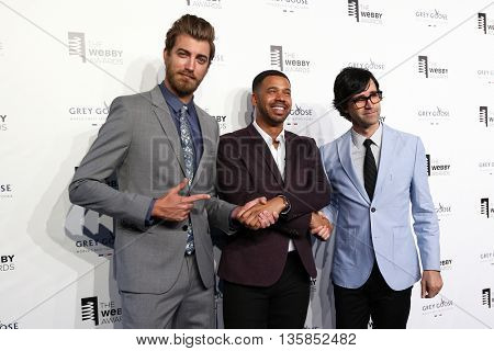 NEW YORK, NY - MAY 18:  (L-R) Rhett James Maclaughlan, Iman Crosson and Charles Lincoln Neal attend the 19th Annual Webby Awards at Cipriani Wall Street on May 18, 2015 in New York City.