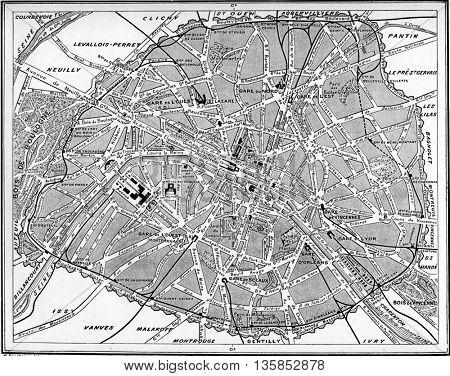 Map of Paris, France. Vintage engraving.