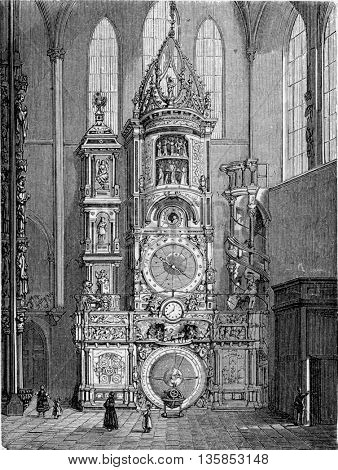 Strasbourg astronomical clock inside Strasbourg Cathedral in Strasbourg, Alsace, France. From Chemin des Ecoliers, vintage engraving, 1876.