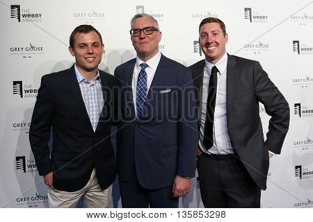NEW YORK, NY - MAY 18: (L-R) Guest, Invisible Girlfriend co-founder Matthew Homann and Kyle Tabor attend the 19th Annual Webby Awards at Cipriani Wall Street on May 18, 2015 in New York City.