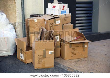 Aix-En-Provence France - June 21 2016: Empty Trash Cardboard Boxes in the Street of Aix-En-Provence France