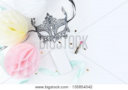 White background woman mock up. Chic and glamour style: mask, lipstick. Table view and modern objects.