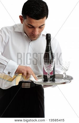 Waiter Or Servant Preparing Tray