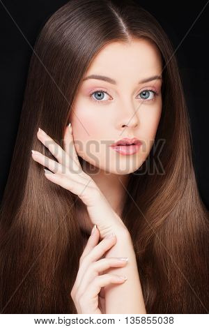 Woman with Healthy Hair. Haircare and Skincare Concept