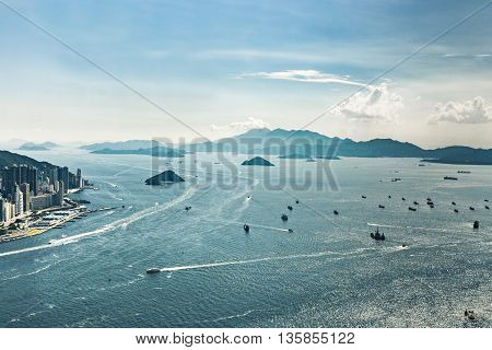 Hong Kong Islands Mountains Landscape Harbor with Ferries