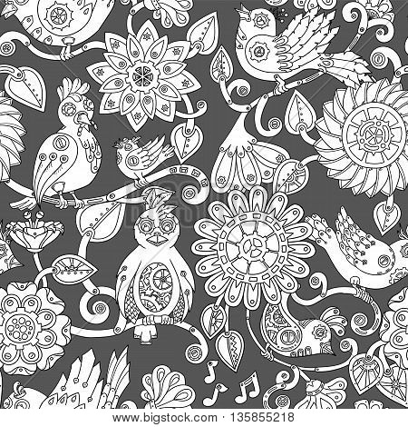 Doodle seamless background with steampunk birds and flowers. Vector ethnic pattern can be used for wallpaper, pattern fills, invitations, coloring books, pages for kids and adults. Black and white.