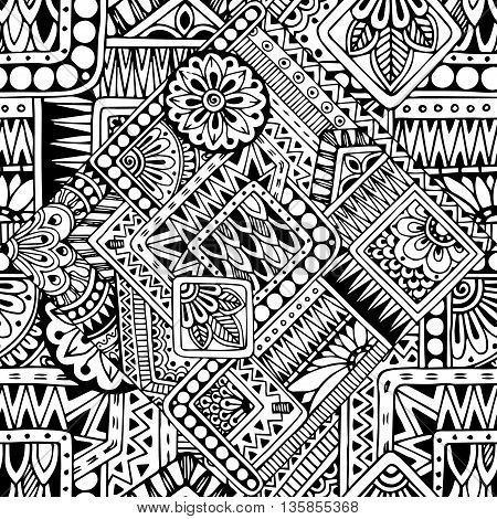 Seamless asian ethnic floral retro doodle black and white pattern in vector.Background with geometric elements. Can be used for wallpaper, pattern fills, coloring books and pages for kids and adults.