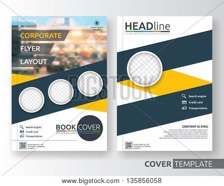 Multipurpose business and corporate cover design layout. Suitable for flyer brochure book cover and annual report. Yellow and navy blue colors A4 size template background with bleeds.