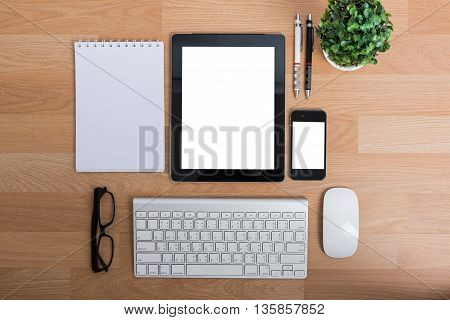Top View Office Table With Mobile Phone