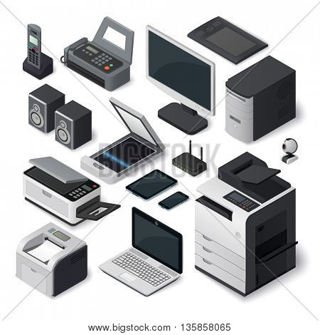 Isometric office equipment vector set.