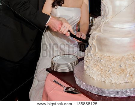 Close up of bride and groom cutting wedding cake bride and groom cut the wedding cake