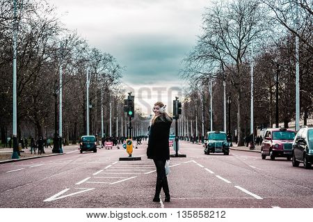 Girl In The Middle Of London Streets