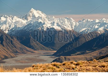 Sunset Illuminates The High And Snowy Southern Alps. Hakatere Conservation Park, Canterbury, New Zealand