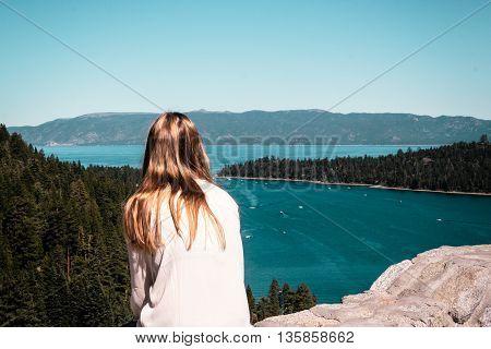 Girl Looking At Emerald Bay And Lake Tahoe
