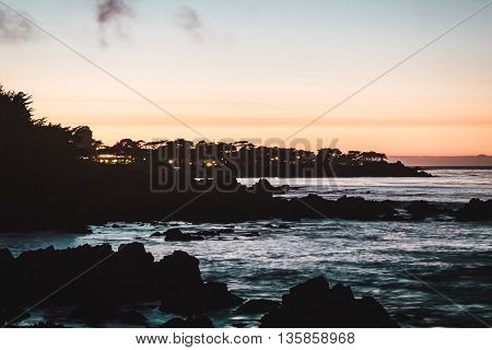 Sunset At Monterey Bay, California