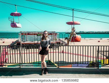 Girl At Santa Cruz Beach Boardwalk Amusement Park