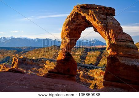 Sunrise Illuminates the The Delicate  Arch Arches National Park, Utah