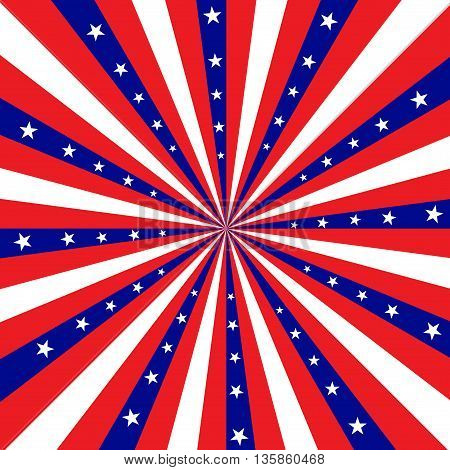 Square design featuring red white and blue stripes radiating out from the center with white stars.
