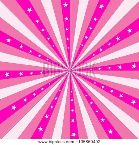 Square design featuring pink stripes radiating out from the center with pink stars.